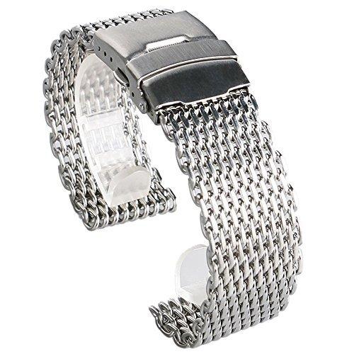 18/20/22/24mm acero inoxidable milanese Shark malla relojes pulsera de la correa de la correa de la correa de la pulsera, reemplazo de la pulsera