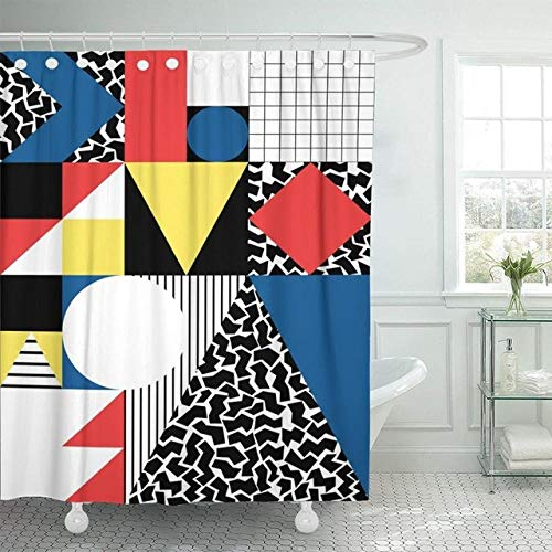 None brand Blaue Muster-Abstrakte Moderne Malerei Im Bunten Bauhaus-Wasserdichten Polyester-Stoff-Duschvorhang-B180xh180cm