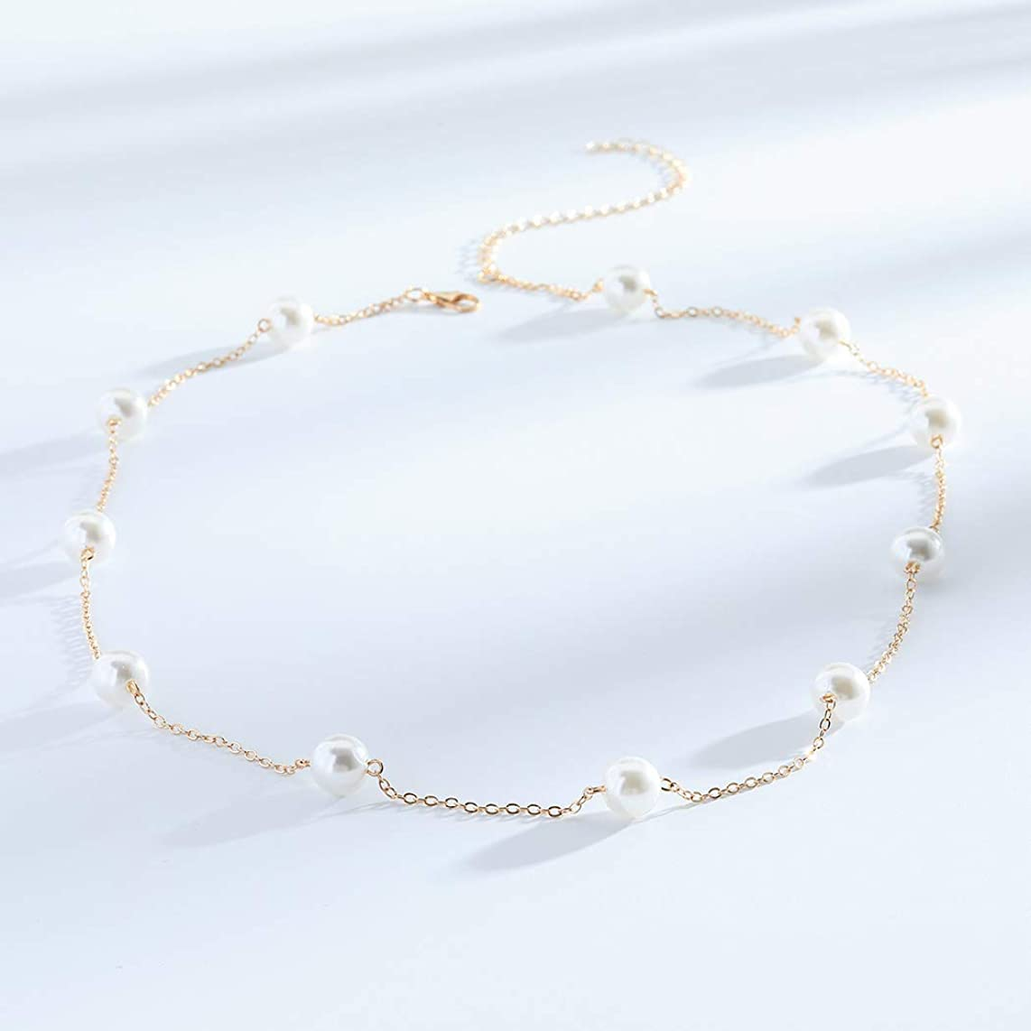 FDesigner Pearl Choker Necklaces Long Pendant Necklace Chain Decorative Jewelry for Women and Girls