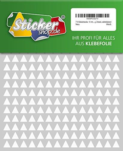 714 Aufkleber, Dreieck, Sticker, 10 mm, weiß, PVC, Folie, Vinyl, glänzend, Klebemarkierung, selbstklebend