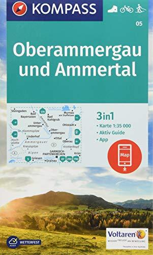 KOMPASS Wanderkarte Oberammergau und Ammertal: 3in1 Wanderkarte 1:35000 mit Aktiv Guide inklusive Karte zur offline Verwendung in der KOMPASS-App. ... Langlaufen. (KOMPASS-Wanderkarten, Band 5)