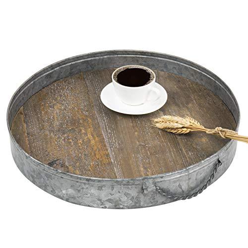 我的礼物乡村镀锌金属和危重木材圆形服务托盘