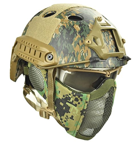 Jadedragon PJ Tactical Fast Helmet & Protect Ear Foldable Double Straps Half Face Mesh Mask & Goggle (Digital Jungle)