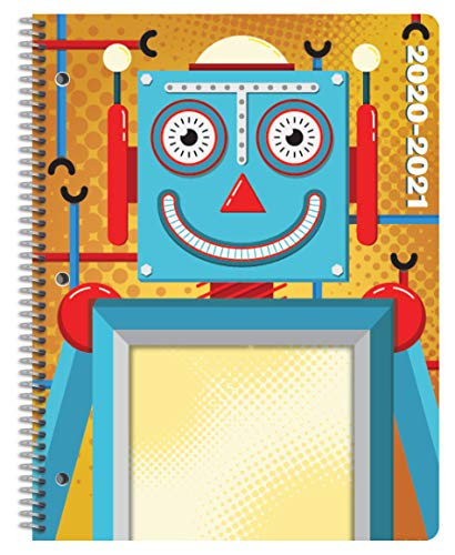 Dated Elementary Student Planner 2020-2021 Academic School Year, 8.5x11 inch Block Style Datebook with Create Robot Cover