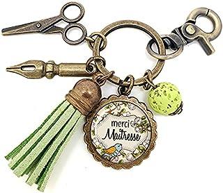 Porte clés - bijou de sac Maîtresse - Bronze et cabochon verre illustré Merci Maîtresse - idée cadeau maîtresse, cadeau fi...
