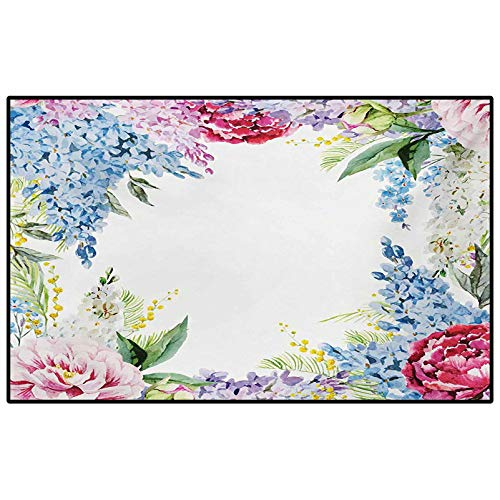Kids Camping Rugs for Outside Your Classroom Rugs Flower,Springtime Fragrance Garland with Bunch of Flowers Lilac Lavender Rose Peony Artsy Print,Multi Childs for Living Room/Dining Room/Bedroom