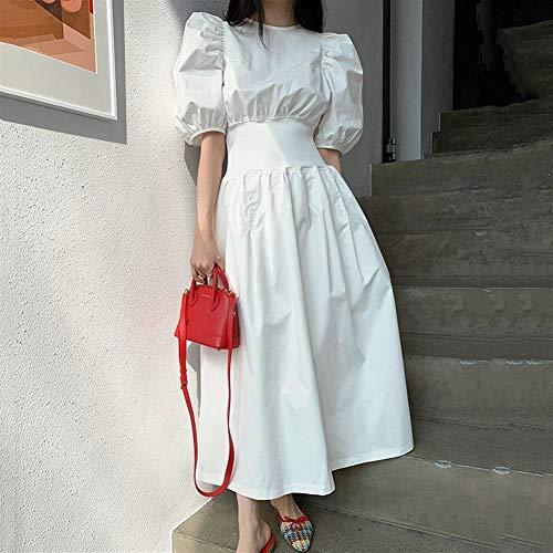 Liangcha-0401 2021 French Style Mujer Vestido 2020 Verano Chic Slim Cintura Secreta Zipper Cerrado Paseo Paseo Vestido Vintage Una Línea Negro Blanco Elegante (Color : White, Size : L)