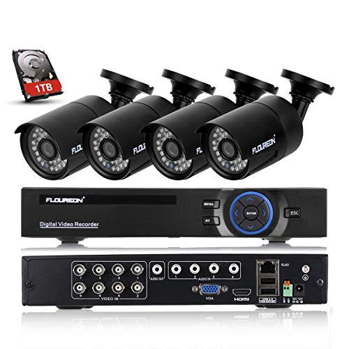 FLOUREON Videoüberwachung 8CH 1080N HDMI DVR Recoder mit 1TB Festplatte + 4X 2000TVL 960P Überwachungskamera Outdoor Sicherheitskamera P2P IR-Cut Wasserdicht Bewegungsmelder