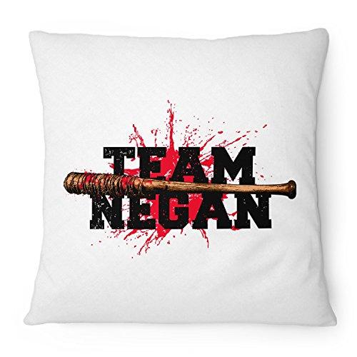 Fashionalarm Kissen Team Negan - 40x40 cm mit Füllung | Geschenk Idee für Fans der Serie T-W-D | Dead Walking Lucille Saviors Baseballschläger, Farbe:weiß