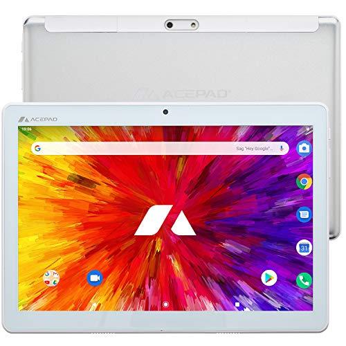 ACEPAD A130 Tablet 10,1 Zoll - Deutsche Marke - 4G LTE, 64GB Speicher, Octa-Core, Android 9.0 Pie, IPS HD, Wi-FI/Bluetooth/GPS - v2021 (Weiß)