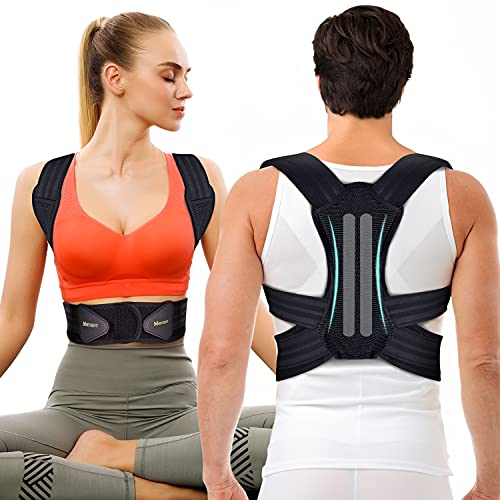 Corrector de Postura Espalda y Hombros Para Hombre y Mujer, Faja para Dolor de Espalda, Enderezador de Espalda Transpirable, Cinturón de Cintura Doble Mejorado(L, cintura 32 '' - 39 '')