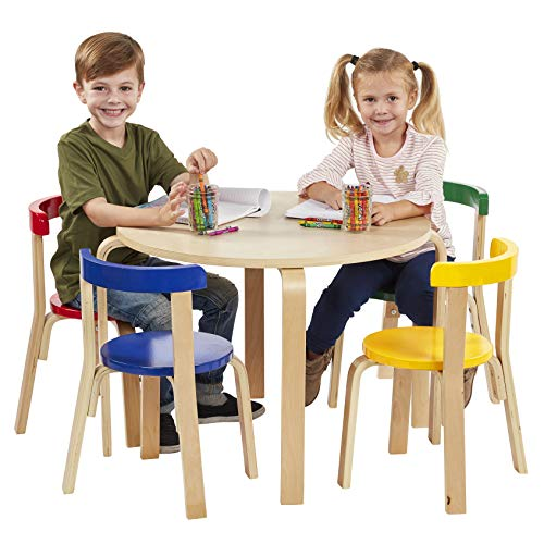 ECR4Kids Bentwood Curved Back Table and Chair Set, Premium Kids Wooden Furniture for Homes, Daycares and Classrooms, Assorted