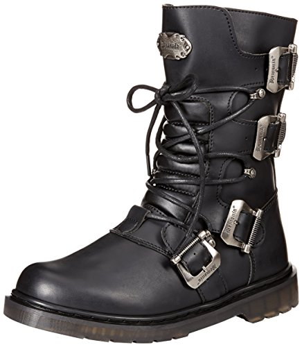 Demonia Men's DEFIANT-306 Mid Calf Boot, Black Vegan Leather, 4 M US