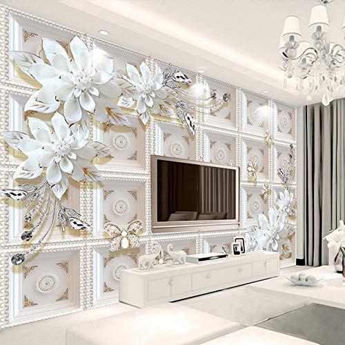 UVKLAEE Personalizado 3D Murales de Pared Papel Tapiz Pintura en la Pared Alivio estereoscópico Joyería Flores Sala de Estar TV Telón de Fondo Mural De Parede 3D Paisaje