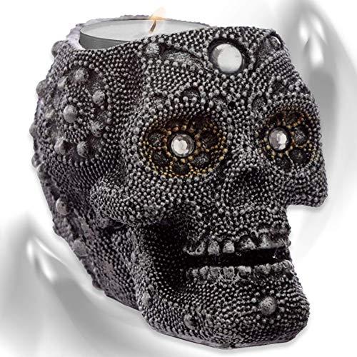 mtb more energy Deko Teelichthalter ''Mystic Pearls'' - Totenkopf Kerzenhalter - Höhe 9 cm - Totenschädel Figur Gothic Dekoration
