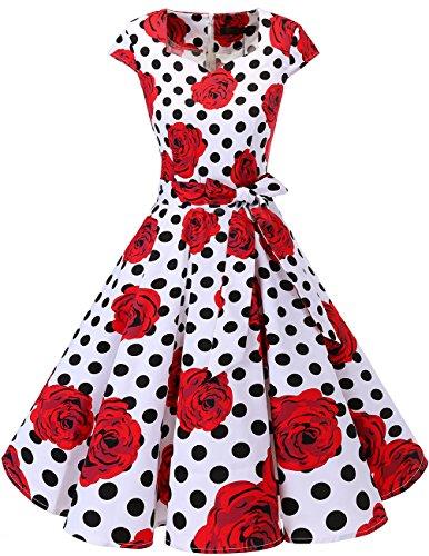 Dresstells Vintage 50er Swing Party kleider Cap Sleeves Rockabilly Retro Hepburn Cocktailkleider White Red Rose Dot M