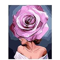 """数字によるDIYペイント アクリル絵具キット 大人子供初心者向け、子供向けキャンバスペインティングギフト、フレームレスペイントブラシ付き16 """"x 20""""-咲くピンクの花"""