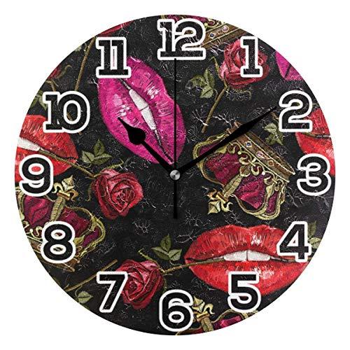Reloj de Pared para Mujer, Sexy, con Boca roja, Corona de Rosas, Redondo, acrílico, Negro, números Grandes, silencioso, sin tictac