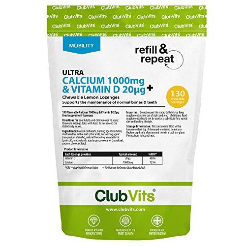 Signature Chewable Calcium 1000mg & Vitamin D 20ug 130 Chewable Lemon Lozenges by Club Vits (Refill)