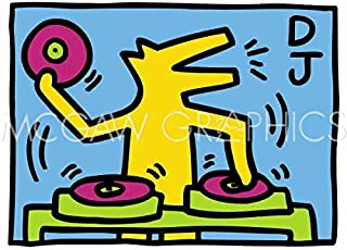 KH07 by Keith Haring Abstract Contemporary Pop Art D.J. Dog Poster (Choose Size of Print)