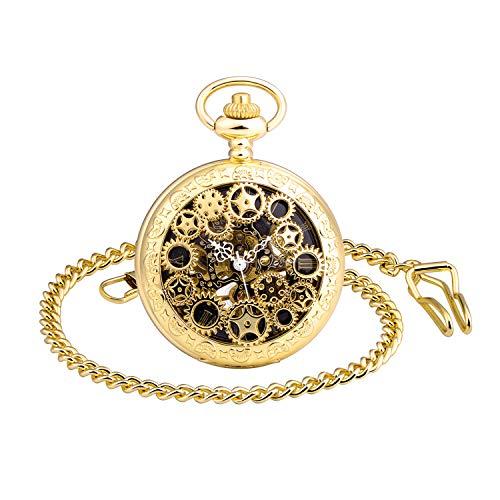 MICGIGI-Orologio da tasca meccanico unisex con catena (oro)