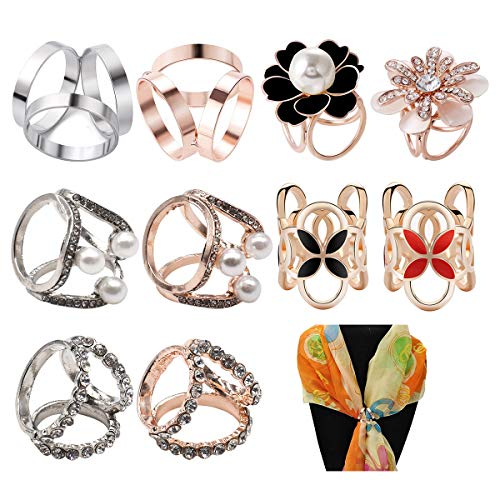Schalring Clip,Yueser 10 Stück Schalring Tuchring Modern Einfache Fashion Schal Ring Kleidung Dekoration Zubehö für Dame und Mädchen (6 Stile)