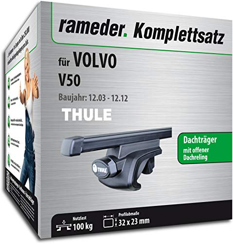 Rameder Set, Dachträger SquareBar kompatibel für Volvo V50 (115961-05090-148)