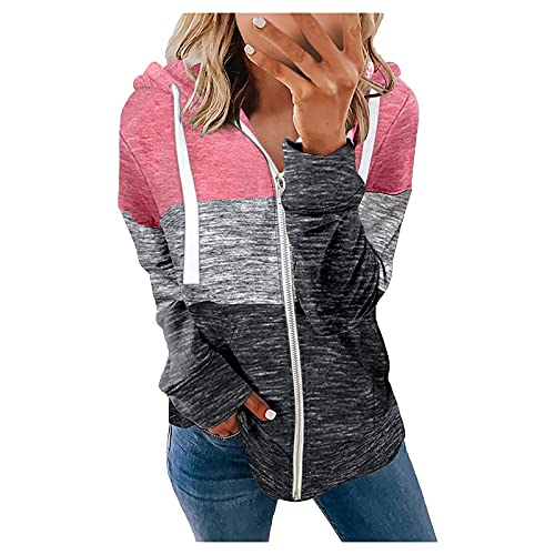 CCOOfhhc Sudadera con capucha para mujer, diseño vintage con cremallera, bolsillos y cremallera, Rosa., XXL