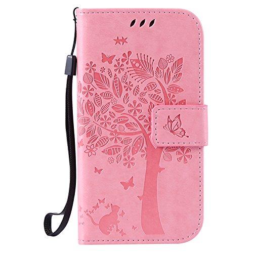 Karomenic kompatibel mit Samsung Galaxy S3 PU Leder Hülle Katze Baum Prägung Handyhülle Brieftasche Silikon Schutzhülle Klapphülle Ledertasche Ständer Wallet Flip Case Schale Etui,Rosa