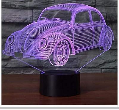 7 Colores Visual Fresco Forma de Coche Lámpara 3D Luz de Noche Led ...