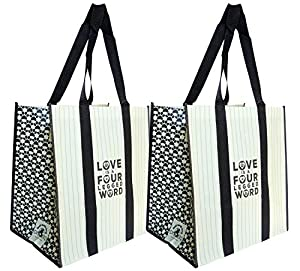 Black and white paw prints on reusable shopping bag