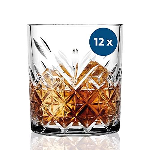 SAHM Gläser Set 12 teilig 200ml | Trinkgläser Set | Timeless Wassergläser Set | Auch ideale Whisky Gläser, Latte Macchiato Gläser & Gin Gläser