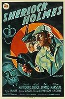 探偵シャーロックホームズ映画ポスターバーカフェヴィンテージ装飾絵画キャンバス壁アート寝室の家の装飾16x24インチ-40x60cmフレームなし
