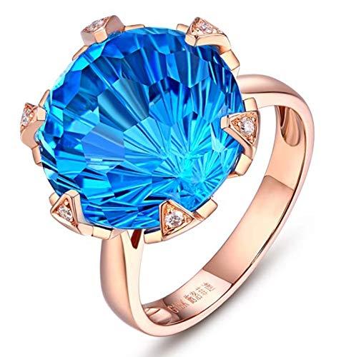 KnSam Joyas-Eres Muy Importante para Mí&Anillo Compromiso Falso Anillo de Diamante 12.5CT de 18K de Oro Anillo de Oro Rosa de la Talla de 9,5