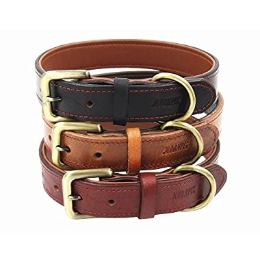 Moonpet Soft Padded Real Leather Dog Collar - Best Full Grain Heavy Duty Genuine Leather Collar - for Small Medium Large Male Female Dogs - Light Brown,16-20''