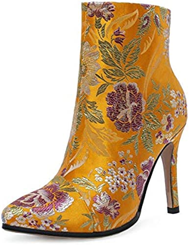 HAOLIEQUAN Stiefel De damen Stiefel De Tela De Algodón Stiefel De Invierno schuhe De damen All Match Zipper Bordado Stiefel De damen Tamaño 34-43