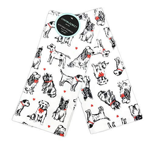 """Cynthia Rowley Cute Multi Dog Breeds in Black & White with Red Hearts Set of Two Decorative Valentines Day Puppy Love Kitchen Hand Towels 18"""" x 28"""""""
