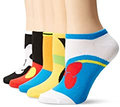 5 pairs of women's no show socks Mickey Mouse themed socks Fits Sock Size 9-11 Fits Shoe Size 4-10.5