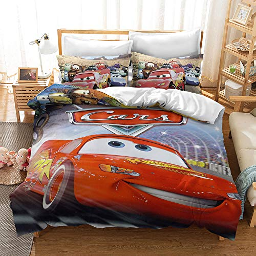 Meiju Duvet Cover Set for Boy Girl Single Double King Bed, 3D Printed Bedding Set Adults Teenager Children Kids Bedroom Microfiber Duvet Set with Pillowcases (200x200cm,Lightning McQueen 1)