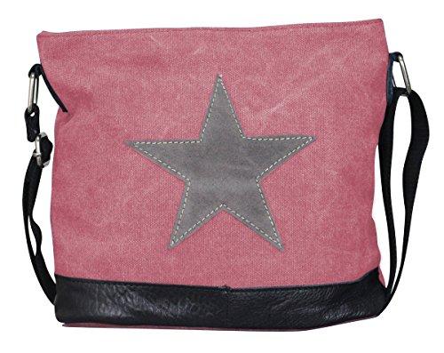 PiriModa Damen Stern Handtasche Schultasche Clutch TOP TREND Tragetasche (Modell 3 Rosa/Grau)
