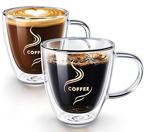 Coffee Mugs, HOKEKI Glass Coffee Cups Double Walled Anti-scalding with Coasters Insulated Espresso...
