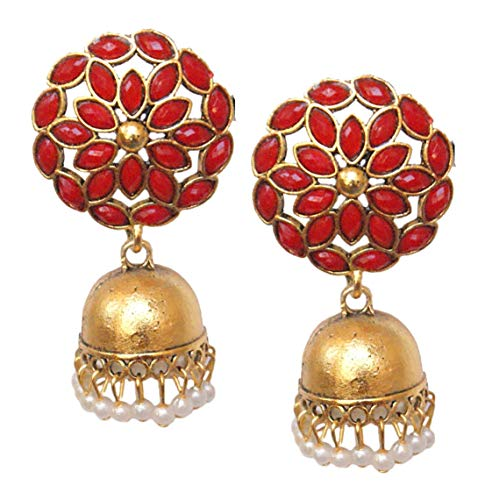 Pahal Traditional Floral Red Kundan Pearl Big Gold Jhumka Earrings Indian Bollywood Bridal Jewelry for Women