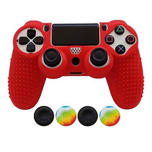 Hikfly Antideslizante Tachonado Aceite de Goma Silicona Controlador Cubrir con 4pcs Thumb Grips Kit para Sony PS4 / Slim / Pro Controller(Rojo)