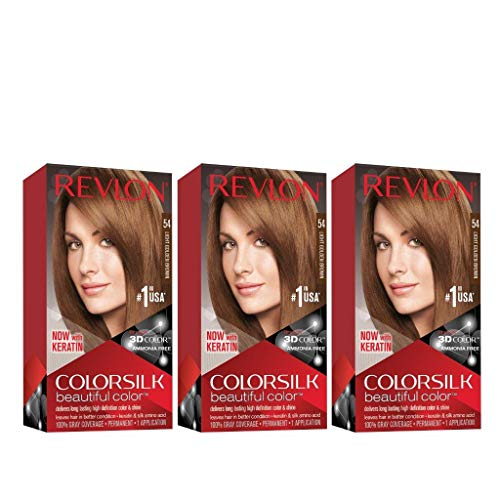 Revlon Colorsilk Beautiful Color, Permanent Hair Dye with Keratin, 100% Gray Coverage, Ammonia Free, 54 Light Golden Brown (Pack of 3)