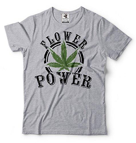Silk Road Tees La Marihuana Camiseta de los Hombres del Flower Power Camiseta Divertida Camisa de la Mala Hierba Small Verde Militar