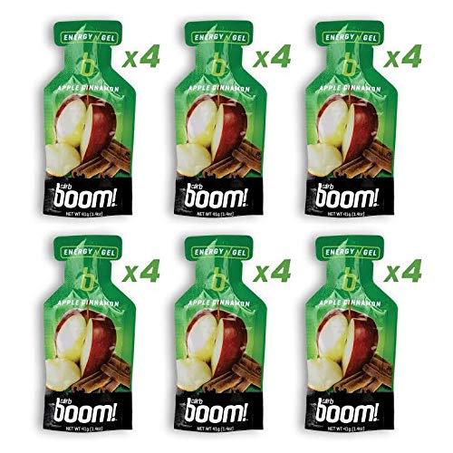 Boom Nutrition - Carb Boom Energy Gel - Fruit-Flavored Energy Gels - Workout Gel - Energy Gel for Cycling - Running Gel - Natural Energy Gel - Apple Cinnamon (24 Pack)