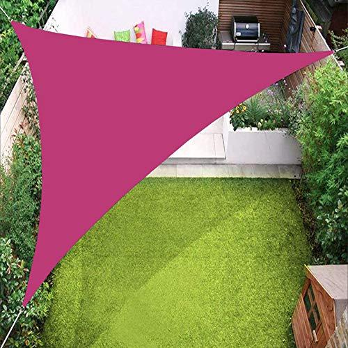 YTQ - Pantalla para vela, triángulo de jardín, resistente al sol, impermeable, para patio, piscina, jardín, con ojal y tres cuerdas, varios colores 3 x 3 x 3 m (color: rosa rojo)