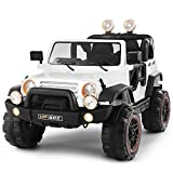 Fitnessclub Electric Cars for Kids, 12V Powered Kids Ride On Car with 2.4 GHZ Bluetooth Remote Control, LED Lights, MP3 Player, 3 Speeds, Waterproof Cover (White)
