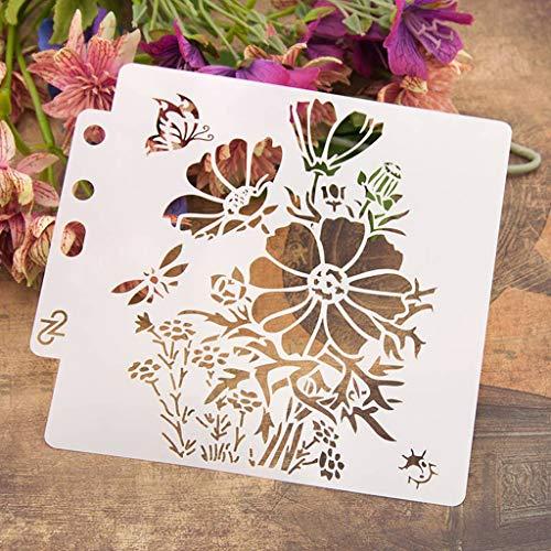 Lottoy Flower DIY Aushöhlen Design PET Kunststoff Schablone, perfekt geeignet für Textilgestaltung, Wandgestaltung, Fenster, Papier, Scrapbooking, Kinder Basteln, 14x13cm/5.51x5.12in