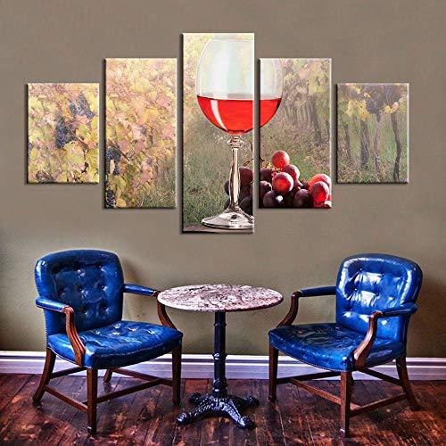 Chuixiaoxiao1 Pintura en Lienzo de 5 Piezas de Panel Impresiones HD Vino Tinto Cartel Moderno Arte Pared decoración del hogar para la decoración del Fondo del Dormitorio de la Sala de Estar
